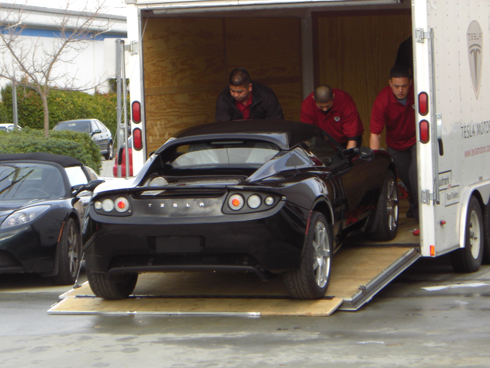 The first production Roadster. Image courtesy of Gigaom.