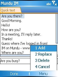 Mundu IM - Quick text