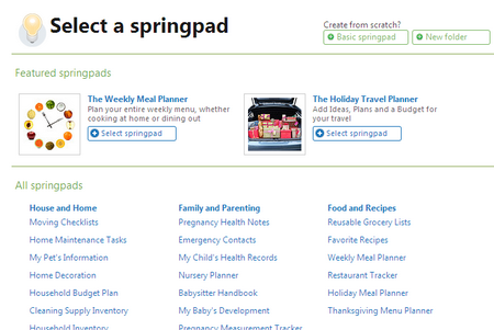 Select a springpad