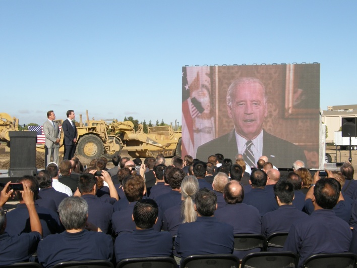 Joe Biden speaking at Solyndra's ground breaking in August 2010