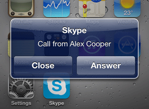 Skype for iPhone incoming call