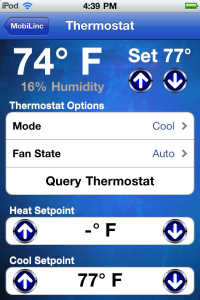 Mobilinc Pro app for a central smarthome system