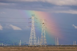 Rainbow and Power Lines at the Palo Alto Baylands