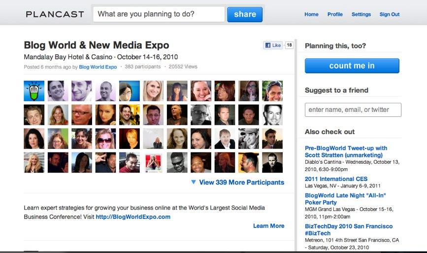 Blog World & New Media Expo on Plancast