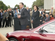 Elon Musk and Diane Feinstein took questions at the plant opening