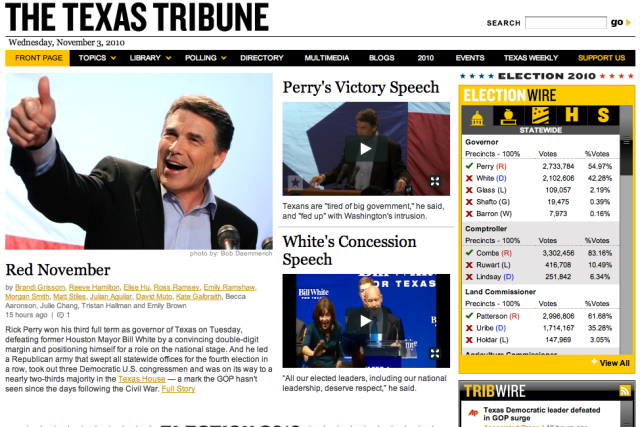Texas Tribune screenshot