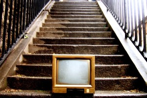 tv screen on stairs