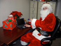Santa on his laptop