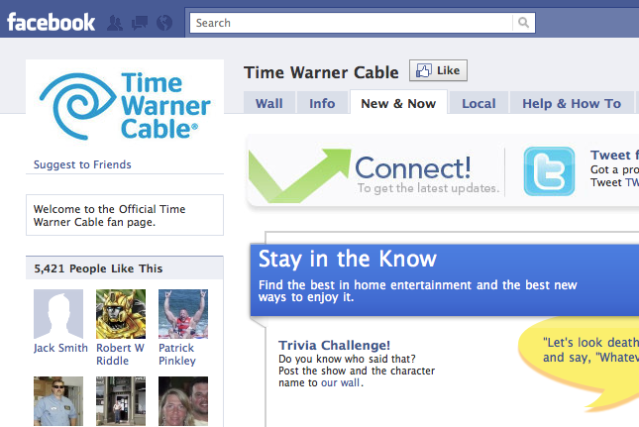 time warner cable facebook