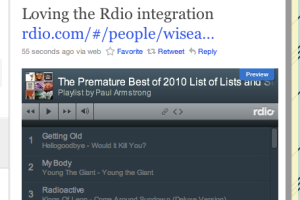 Twitter rdio integration