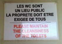 Please maintain the cleansiness of the toilets
