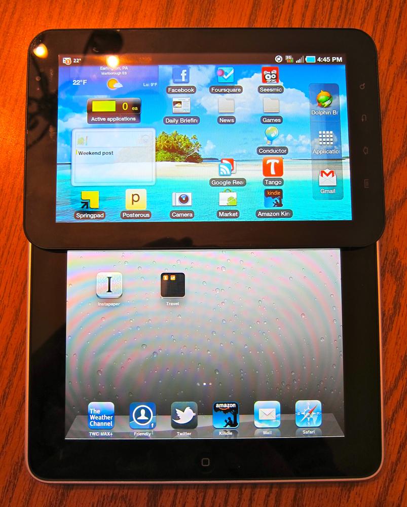 Galaxy Tab is half the size of iPad
