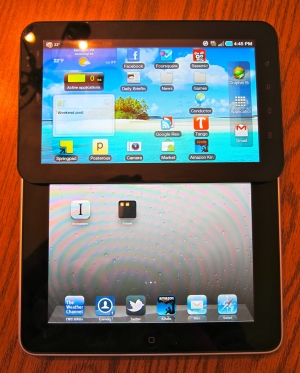 Galaxy Tab is half the size of iPad