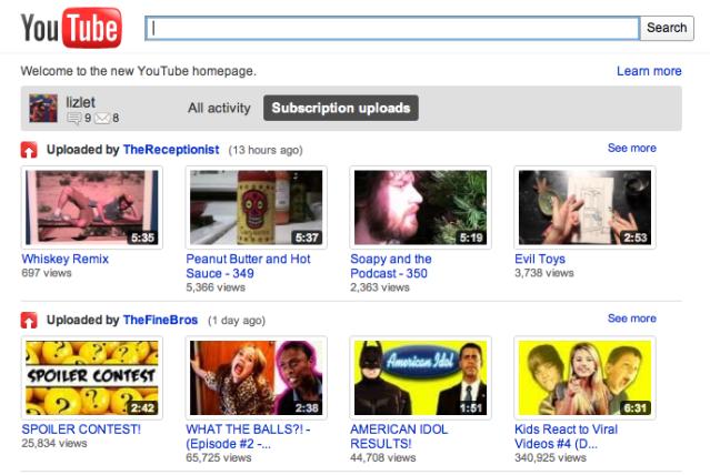 my youtube homepage