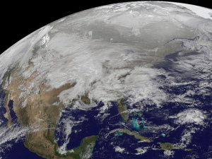 Satellite photo of winter storm