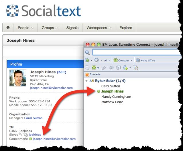Socialtext 4_6 Lotus Sametime integration on profiles