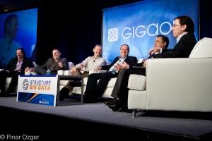 Cloudera's Amr Awadallah, Pervasive Software's Mike Hoskins, 10gen's Dwight Merriman, Yahoo's Todd Papaioannou, and DataStax Ben Werther