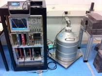 The research team's shielded germanium detector and data acquisition hardware.