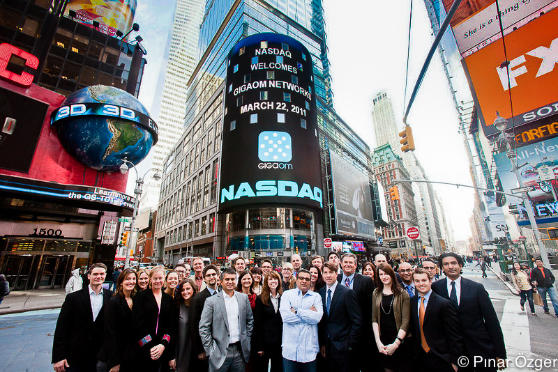 The GigaOM staff in front of Nasdaq, March 22, 2011, by Pinar Ozger