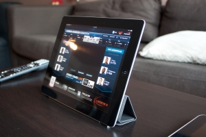 iPad 2 with Smart Cover acting as a stand for landscape use.