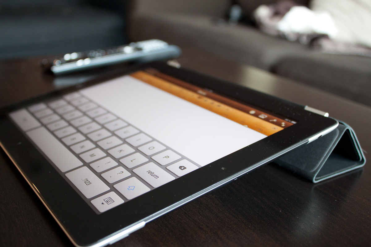 iPad 2 set up for typing with Smart Cover as a stand.