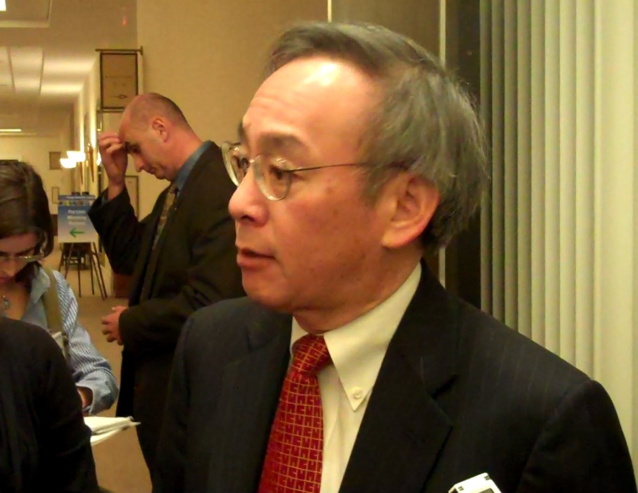 Steven Chu giving an interview in the hallways at ARPA-E