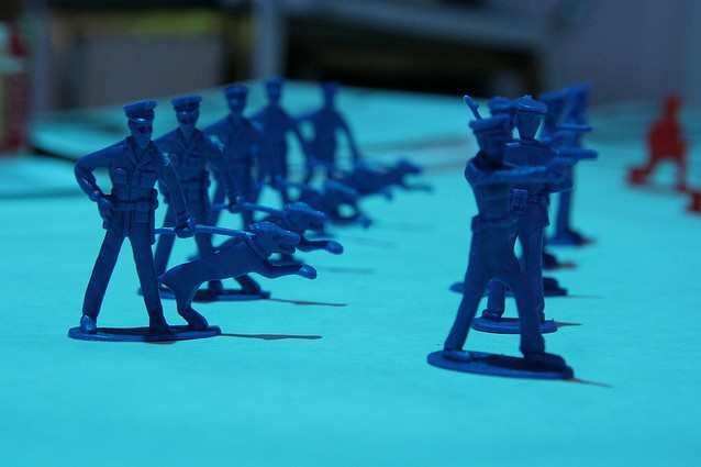 Toy soldiers line up for battle