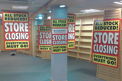 Empty bookstore shelves by FSSE8INFO