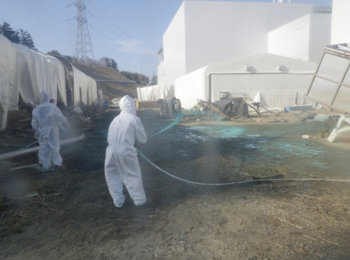 Dispersing Dust Protectant, Common Pool Area. Cleaning up Fukushima.