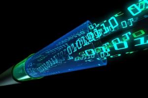 digital data flow through optical wire