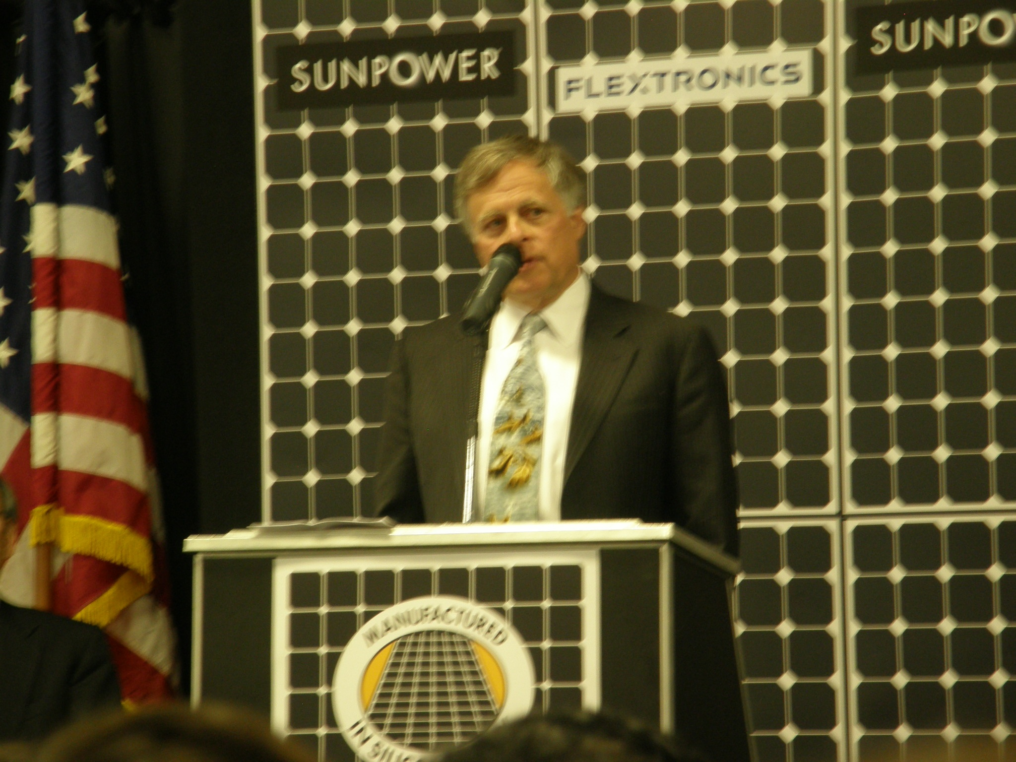 SunPower Founder Dick Swanson gives remarks at event in 2011