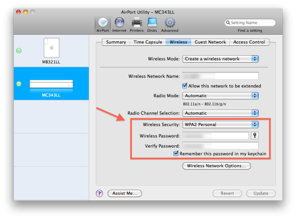WPA2 Security Settings
