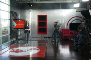 "Shira Lazar on set during a ""Whats Trending"" rehearsal."