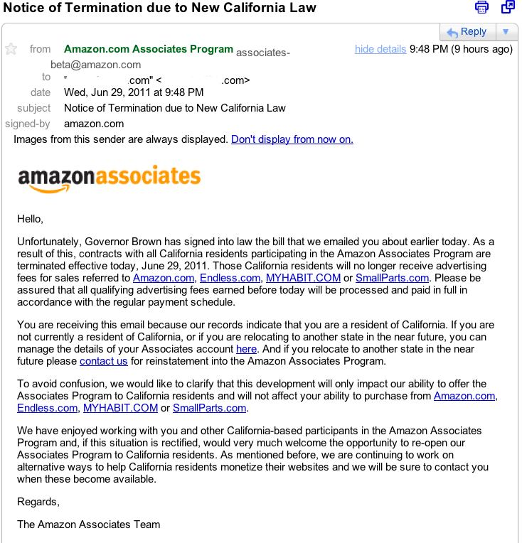 Screen shot of Amazon Associates email
