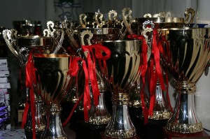 table of small trophies