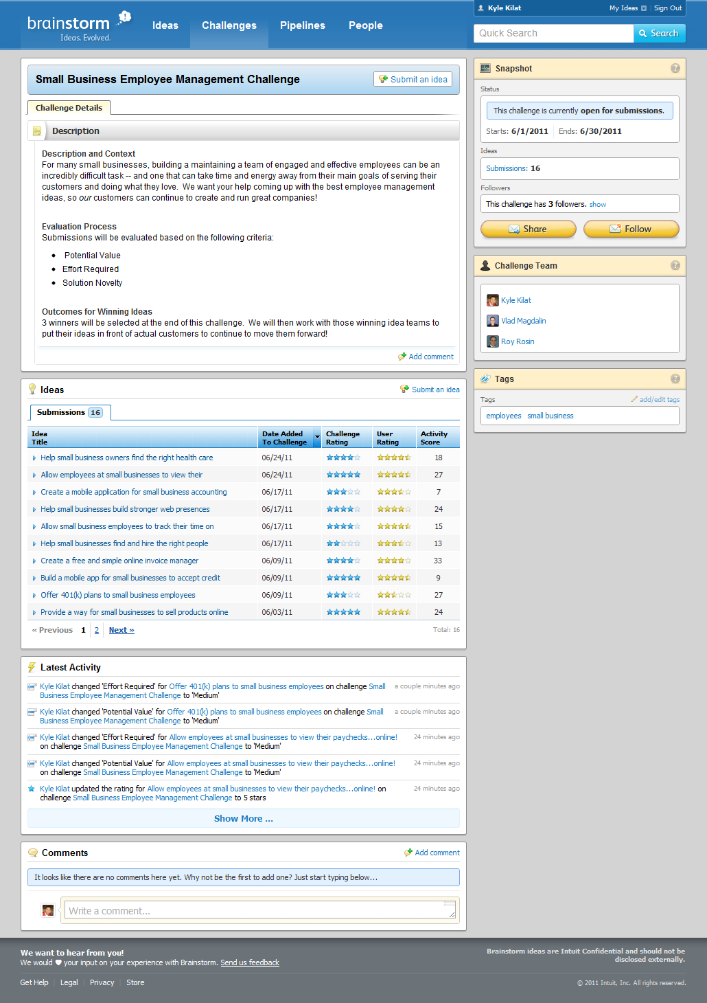 Screen shot of Intuit Brainstorm Challenges page