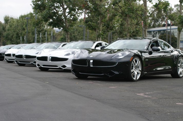 Row of Fisker Karmas
