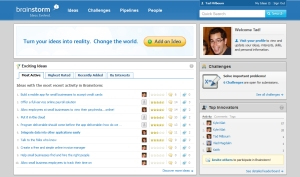Screen shot of Intuit Brainstorm home page