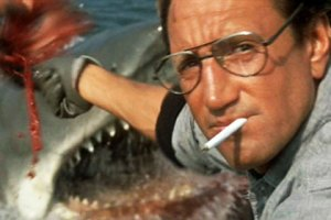Jaws: Roy Scheider unwittingly feeds chum to the Great White Shark