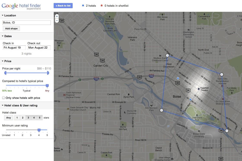 Map view Hotel Finder