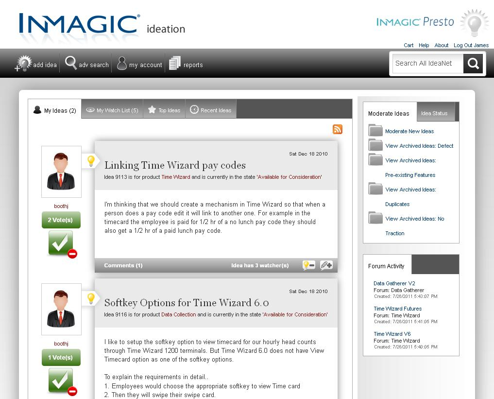 Screenshot of InMagic IdeaNet moderator page