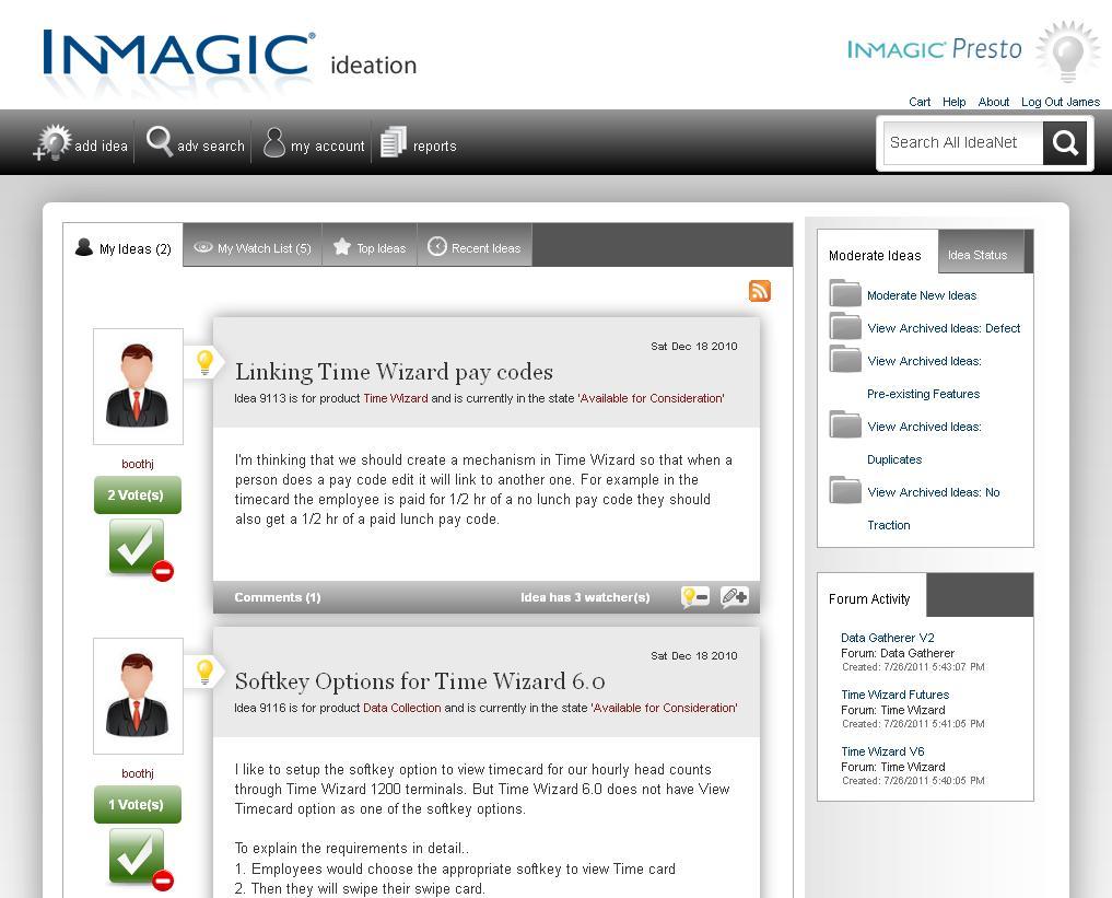 Screenshot of InMagic IdeaNet moderator page