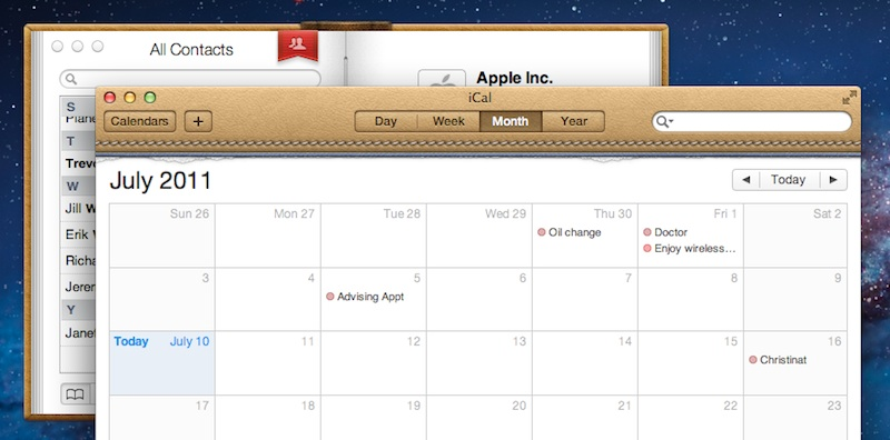iCal and Address Book look more realistic in Lion