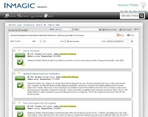 Screenshot of InMagic IdeaNet search page