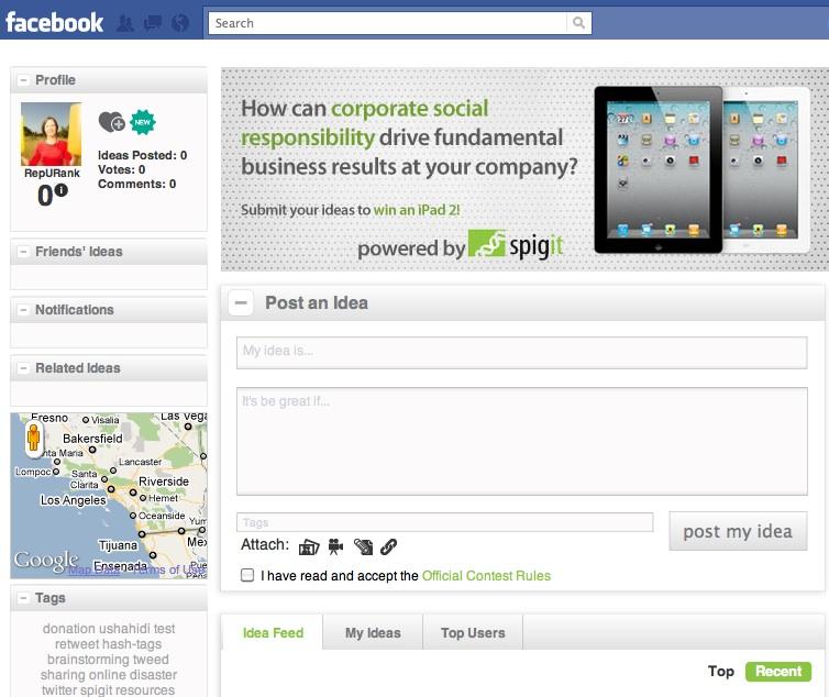 Screen shot of Spigit contest on Facebook