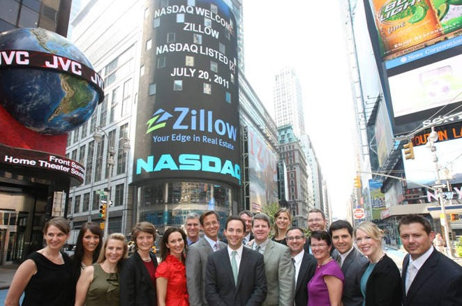 Zillow executives and employees in Times Square