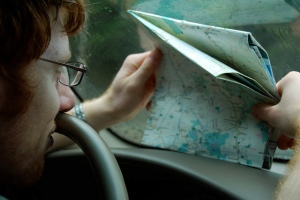 Driver looking at a map