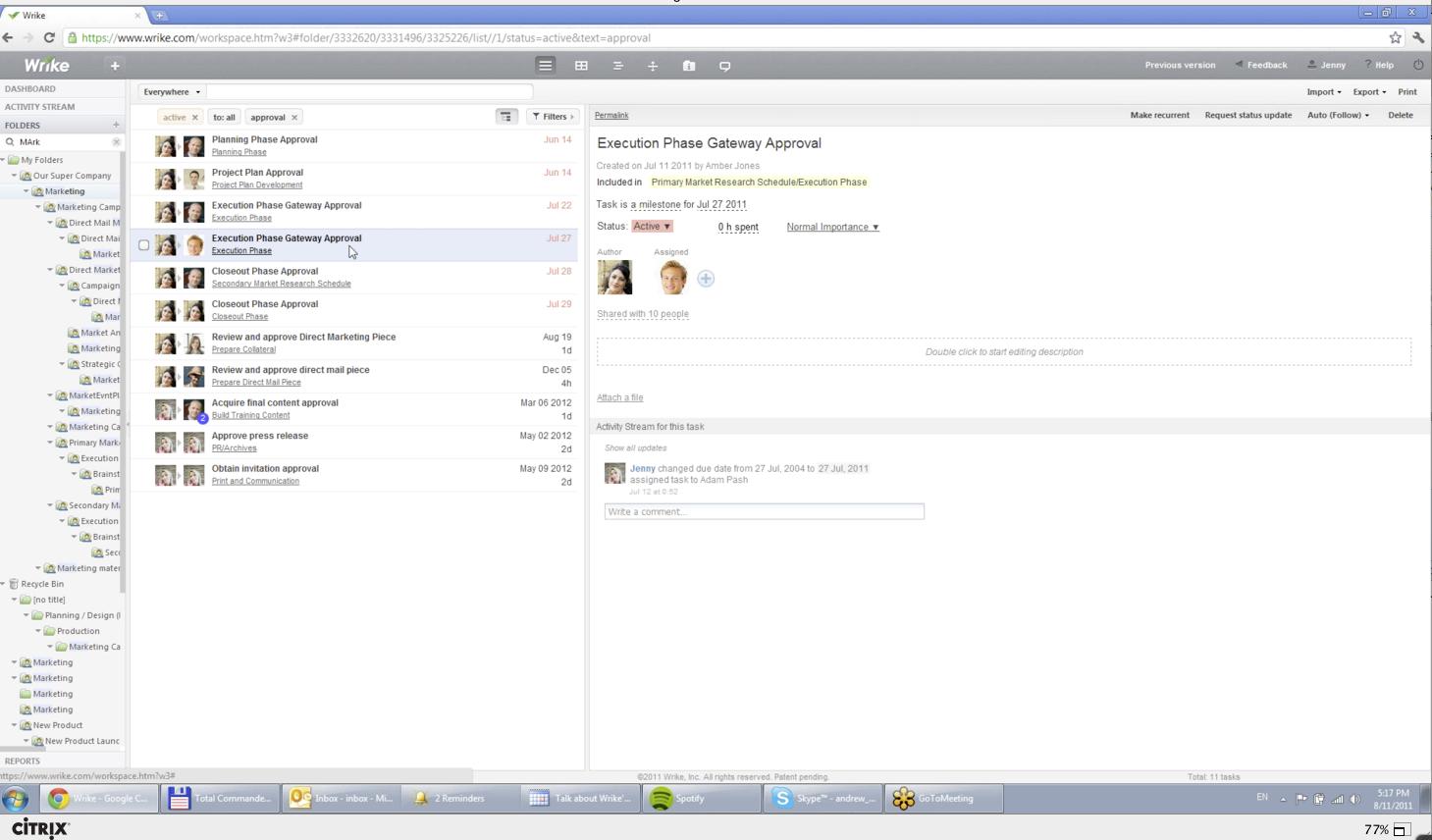 Task screen shot