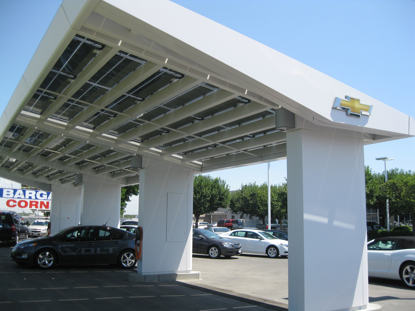 A 2011 Volt parked at the solar charging station.