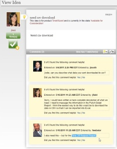 Screen shot of IdeaNet discussion
